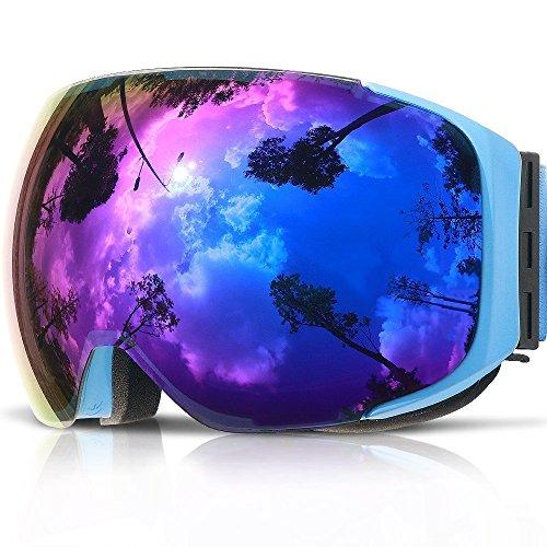 Maschera sci,copozz g2 occhiali maschera da sci neve snowboard - per uomo donna adulti adolescente giovani ragazzo ragazza - con magnete veloce intercambiabile specchio lente - con otg casco compatibili sole uv400 anti-fog (blu)