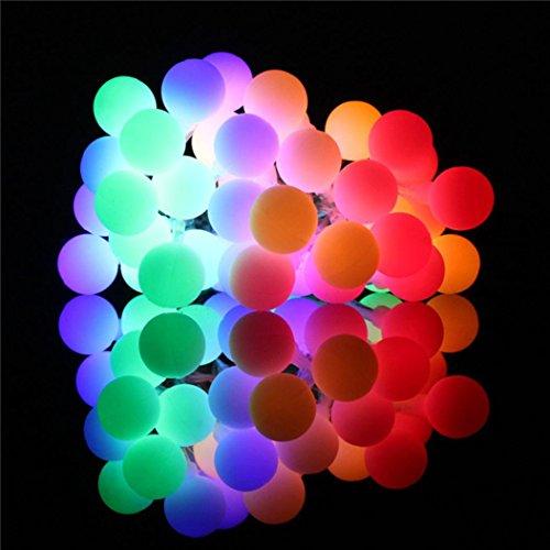 Wanshop catena luminosa, luce stringa solare di crystal globe, 5.2 m 50 led sfere delle palle a batteria illuminazione per giardino, ideale per decorazioni di natale, feste, matrimoni (b)