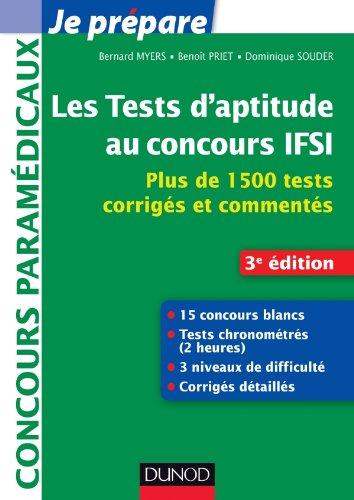 Les tests d'aptitude au concours IFSI - 3e éd. - Plus de 1500 tests corrigés et commentés