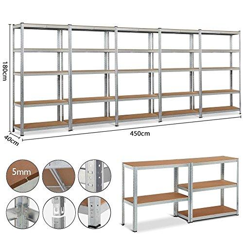 Yaheetech 5x Schwerlastregal Regal Steckregal Kellerregal 180 x 90 x 40 cm Metall verzinkt...
