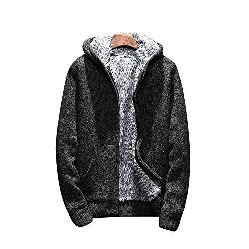 Shujin Herren Herbst Winter Dicken Strickjacke Gefüttert mit Fell Cardigan Grobstrick Zipped Fleece Sweatjacke mit Kapuze Kapuzenpulli Mantel
