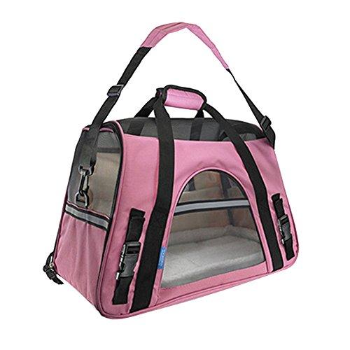 Faltbare Transportbox für Haustiere, Travel Weiche Seiten Tasche Haustier Träger für Hunde & Katzen Pink Large