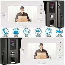 """KKmoon 7"""" Timbre Video Portero Intercomunicador (2 Cámara de Vigilancia Outdoor, Desbloqueo Remoto, 2 Monitor TFT LCD, 3 IR LED Visión Nocturna)"""