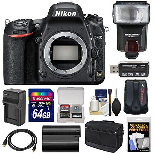 Nikon Kameragehäuse D750 Digitale SLR mit Messenger Kit 64GB Karte Batterie und Ladegerät-Adapter GPS-Tasche Blitz Schwarz