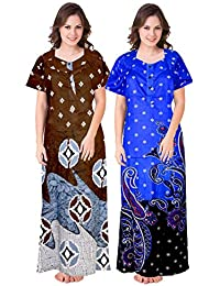jwf Women Cotton Nighty Gown Sleepwear Nightwear Maxi Soft Night Suit Cotton (Multicolor) Combo Pack of 2 Peice Yellow