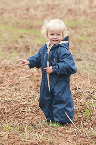 Hippychick Fleece Lined Waterproof All-in-One Suit – Navy/Sand, 2-3 Years