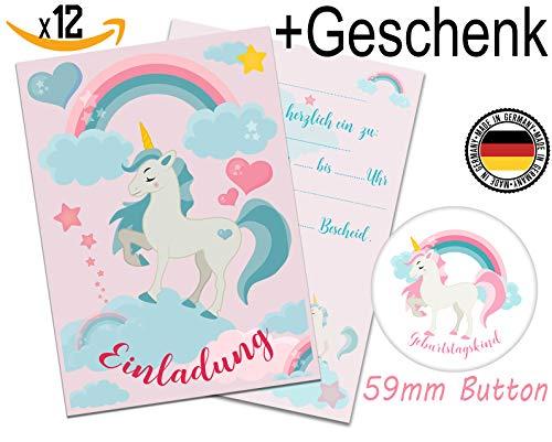 nladungskarten Einhorn Mädchen Geburtstag Einladung 12 Stück + Geschenk Kindergeburtstag Regenbogen Party Geburtstag Einladungen ()