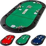 Table de Poker Pliante à Poser Deluxe avec Sac de Transport, 208 x 106 x 3 cm, Panneau MDF, accoudoires rembourrés, 10 Porte -gobelets, Vert