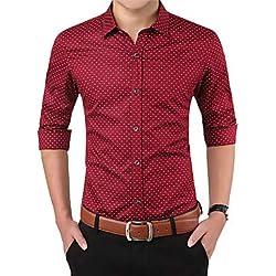 IYFBXl Camisa básica/Elegante de los Hombres - Lunares, Rojo, XXL