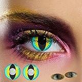 80027 farbige Kontaktlinsen blau gelb katzenauge katze drache schlange manga vampire halloween zombie kostüme fashing