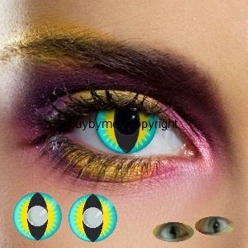 (80027 farbige Kontaktlinsen blau gelb katzenauge katze drache schlange manga vampire halloween zombie kostüme fashing)