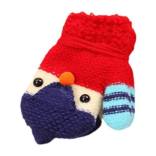 (DaoRier Kinder Gestrickte Handschuhe Niedliche Bunt Küken Warme Fäustlinge Kinderhandschuhe mit Schlüsselband für Kinder 3-8 Jahre alt (Rot))