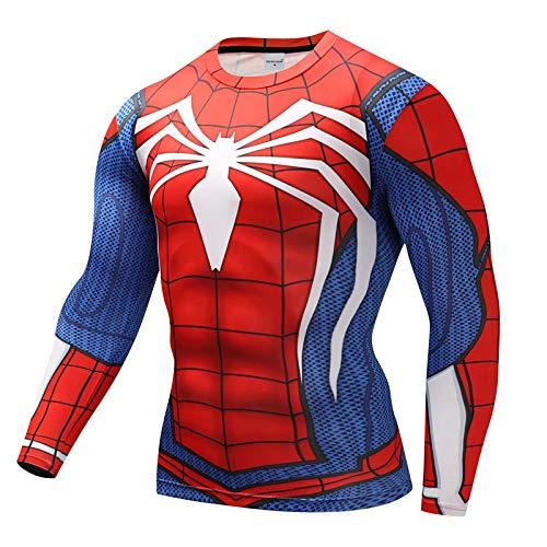 hlh 3D Spider-Man Flash Renren T-Shirt Avengers Reiten Schnell Trocknendes Langarm-T-Shirt Männer ()