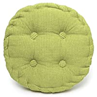 Anterrier Chunky Corderoy Chair Cushion Thick Soft Seat Pad Green Chair Pad (Round)