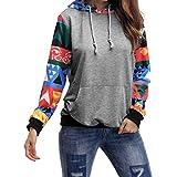 Damen Herbst Winter Kurz Gefüttert Hoodie Pullover Mit Kapuzen Langarm Sweatshirt Kapuzenpulli (2XL, Grau)