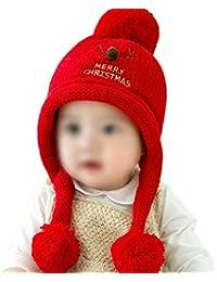 2dd7fc90c5e Hosaire 1pc Bonnet bébé Bonnet en Corne créatif Bonnet en Laine à Rayures  Simples Chapeau Chaud