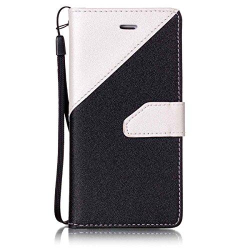 iPhone 6/iPhone 6S 4.7inch Case, Case First due colori design PU pelle portafoglio Case Cover Flip Cover con Cinturino da Polso e Card Slot per iPhone 6/iPhone 6S 4.7inch Bianco + nero