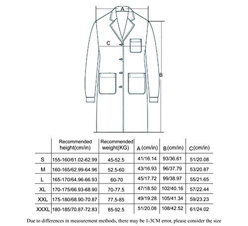 WWOO Laborkittel Damen Baumwolle weiß Arztkittel Arbeitskleidung Medizin kittel Weiss Fabric-Aktualisierung Dicke XL - 6