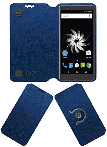 ACM Designer Rotating Flip Flap Case for Yu Yureka Note Mobile Stand Cover Blue