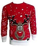 Blush Avenue, maglione a tema natalizio unisex, lavorato a maglia RED SMILING REINDEER XX-Large