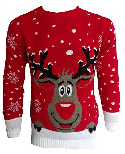 Blush Avenue®, maglione a tema natalizio unisex, lavorato a maglia RED SMILING REINDEER XX-Large