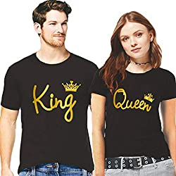 Hangout Hub Couple Tshirts King Queen Crown All Gold Printed Black Color Men-XL,Women-L