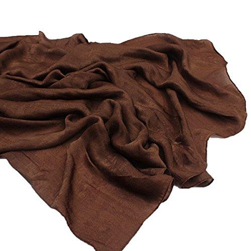 Soie Coton Soie Châle Printemps Et Été Climatisation Sunscreen Serviette De Plage Femmes Long 200cm Large 100cm Café