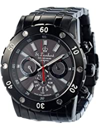 St. Leonhard Solar Uhren: Herren-Chronograph mit Funk und Solar, schwarz (Herren Solar Funk Armbanduhren Chronographen)