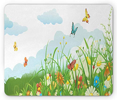 SHAQ Grass Mouse Pad, Clouds with Spring Meadow with Butterflies and Green Grass Chamomile Blossom Garden, Standard Size Rectangle Non-Slip Rubber Mousepad, Multicolor - Spring Meadow Green