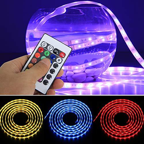 Yorbay 5M LED RGB Strip Komplettset GS geprüft IP68 wasserdicht Unterwasser-Lichtleiste(150 5050 SMDs) + IR Controller mit 24 Taste Fernbedienung + 12V Netzteil