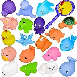 Jouets de bain, Chickwin Jouets de bain pour bébés Bijoux pour enfants Jouer Piscine d'eau Tub Animaux Jouet de son (20pcs)