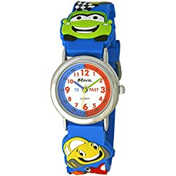 Ravel Cartoon Cars 3D Watch with Timeteacher Dial Children's Quartz Watch with White Dial Analogue Display and Multicolour Plastic Strap R151367
