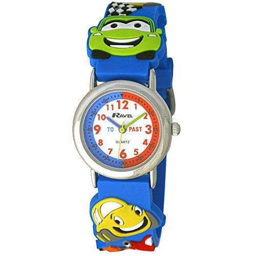 Ravel-Armbanduhr Cars 3D Children'Timeteacher Zifferblatt Quarz-Uhr mit weiem Zifferblatt Analog-Anzeige und R151367 Kunststoff, mehrfarbig