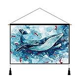 Aha yo Nordic Animal Aufhängen Malen Kinder, Schlafzimmer Wohnzimmer Wohnheim Hintergrund Tuch Foto Wand Decke, Tischdecke Wandverkleidung, Ölgemälde Dekorative Leinwand in in DIY, Whale, 45cmx65cm
