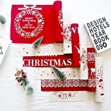 Yaoaomon Christmas Cotton Linen Tablecloth Christmas Decorative Table Runners Covers White Christmas Ring