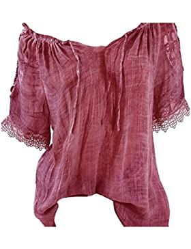Juleya Mujer Suelta Camisas Nueva Moda Verano Sexy Costura Slash Cuello Camisa Más Tamaño Casual Blusa Sólida