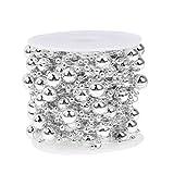 Amazingdeal365 10 M Multifunktion Perlenband Perlenkette Perlengirlande Perlenschnur Weihnachten Advent Hochzeit Deko Tischdeko für DIY und Deko (Silber)
