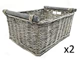 KITCHEN LOG FIREPLACE WICKER STORAGE BASKET WITH HANDLES XMAS EMPTY HAMPER BASKET [Grey,Set of 2 Small 31x25x16cm]