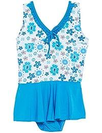 CAMEY Infant Baby Girls Printed One-Piece Swimsuit Ruffle Skirt Swimwear Bathing Suit Cloth (SCG-01_Blue)