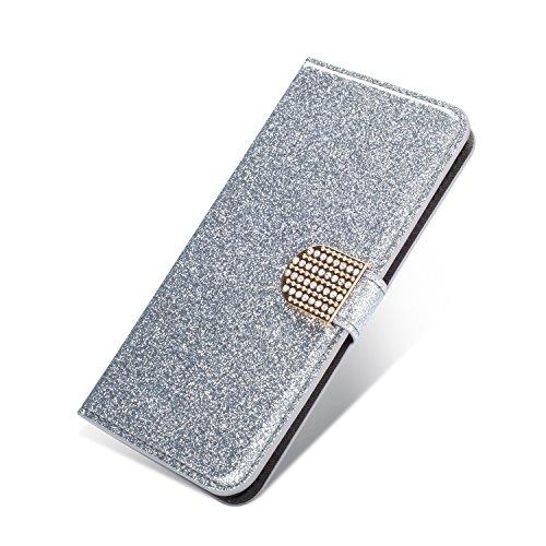 SevenPanda PU Ledertasche Hülle für Samsung J510, Luxus Bling Rhinstone Diamantschnalle Juwelen Premium Buckle Magnetverschluss Flip Folio Handyhülle für Samsung Galaxy J5 2016 - Silber Galaxy Juwelen