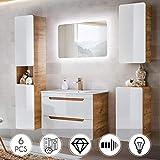 Lomadox Bad Möbel Komplett Set Weiß Hochglanz & Wotaneiche Holzoptik ● 6-teilig inklusive 80cm Waschbecken mit Unterschrank, Hochschrank, Spiegel, Hängeschrank, Unterschrank ● mit LED-Beleuchtung & Softclose