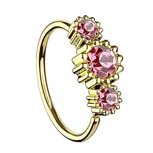Piercing Ring für Septum Tragus Helix Ohr Nase Lippe Brust Intim mit 3 Strass Kristallen Gold Vergoldet Rosa ()