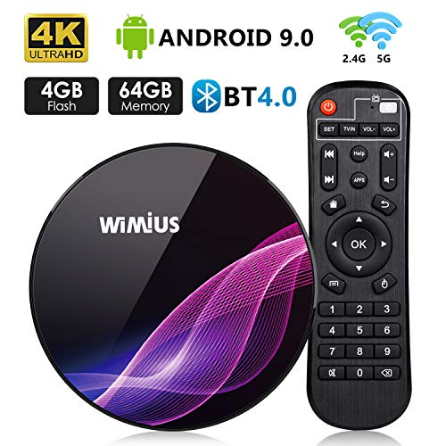 TV Box Android 9.0 4GB RAM 64GB ROM, WiMiUS K1Pro Smart TV Box 4K Ultra HD Dual Band WIFI/Bluetooth 4.0 / USB 3.0 / Amlogic S905X2 / H.265 64Bit