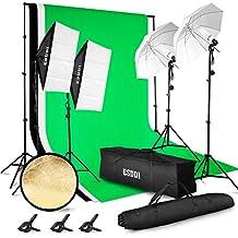 ESDDI - Kit de iluminación profesional con Proyectores Ventana (Softbox) y Paraguas - 4x85W 5500K- Para estudio de fotografía y vídeo - Fondo con soporte (Blanco, negro y verde) - 3 metros x 2.6 metros - Con bolsa de transporte