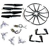 Yacool ® Syma X5 X5c X5c-1 Quadcopter completa Parte Conjunto Eplacements 4 * Motores Propulsores de Skid Landing cubiertas protectoras base del motor de Negro color