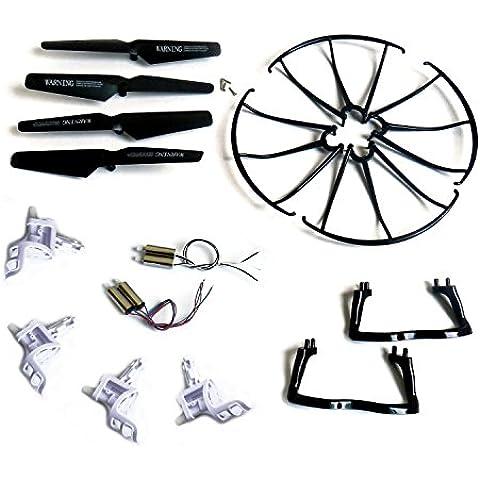 Yacool ® Syma X5 X5c X5c-1 Quadcopter completa Parte Conjunto Eplacements 4 * Motores Propulsores de Skid Landing cubiertas protectoras base del motor de Negro