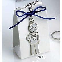 Llaveros niño comunión GRABADO en caja con peladillas (pack 12 llaveros) detalles regalos PERSONALIZADOS para invitados