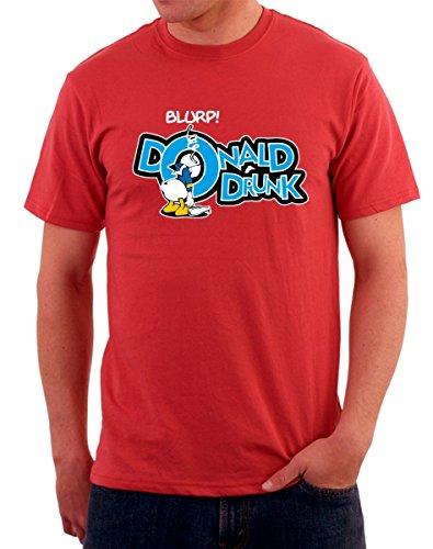 T-shirt papero ubriaco, donald drunk linea humor maglietta by tshirteria rosso