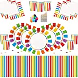 Rainbow Party Kids Birthday Decoration-Rainbow Plates Tazas Servilletas Cubiertas de Mesa Globos Gratis y lápices de Colores variados-16 Invitados