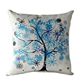 Ouneed Home Decor Pillow Case, Rural Fresh Cartoon Flower Tree Pillow Case Sofa Waist Throw Cushion Cover (Blue)